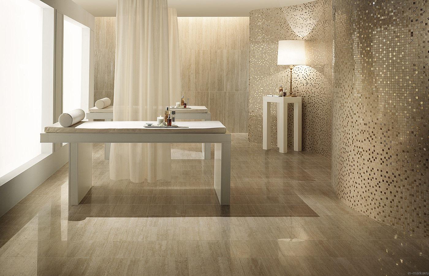 Gloss cream floor tiles