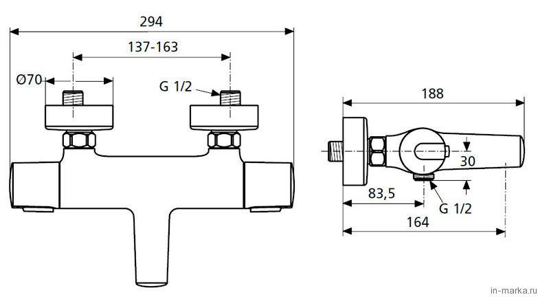 Термостат Ideal Standard Ceratherm 100 New A4623AA для ванны с душем
