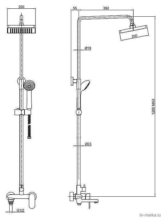 Душевая стойка Bravat Opal F6125183CP-A-RUS