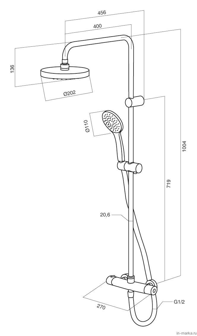 Душевая стойка Am.Pm Sense ShowerSpot F0775000