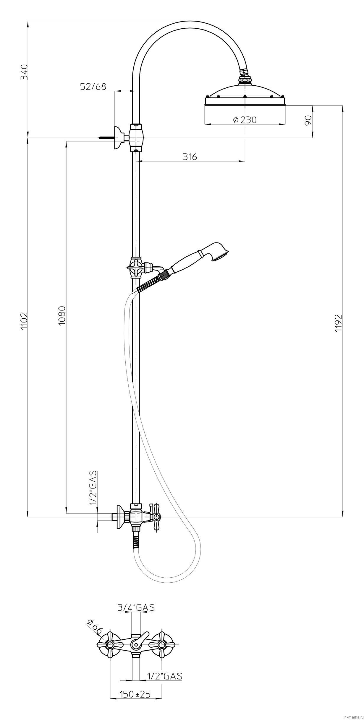 Душевая стойка Bossini Retro L01526 ORO