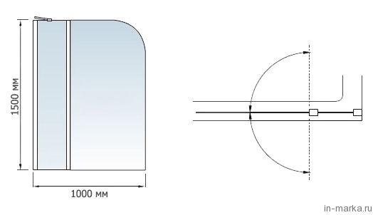 Шторка на ванну RGW Screens SC-08 100 см с ручкой и полками