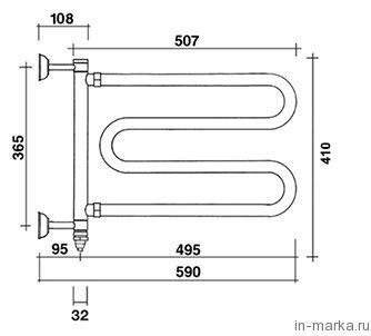 Полотенцесушитель электрический Margaroli Vento 510C хром
