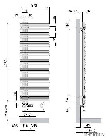 Полотенцесушитель электрический Zehnder Yucca asymmetric YAECL-130-60/RD (DBM) левый