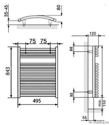 Полотенцесушитель электрический Zehnder Janda JAE-070-050/DD