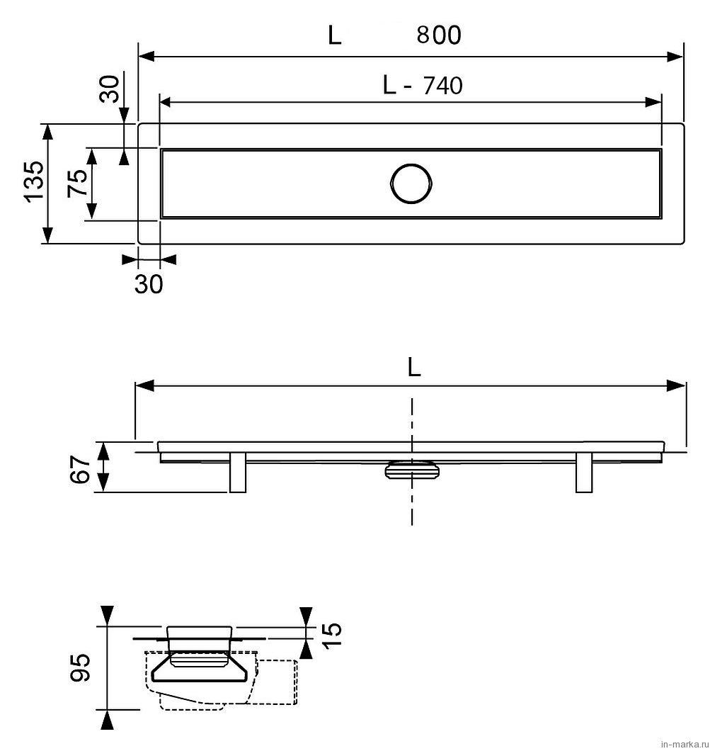 Душевой лоток Tece TECElinus 15100080 80 см комплект