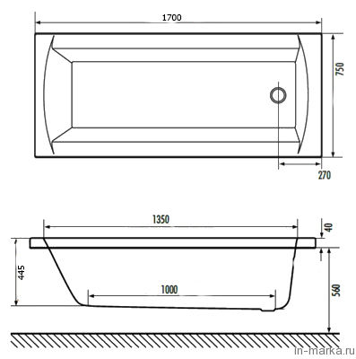 Акриловая ванна Excellent Aquaria 170x75