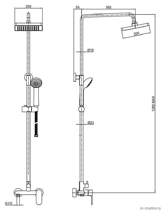 Душевая стойка Bravat Opal F9125183CP-A-RUS