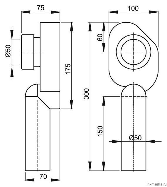 Сифон для писсуара AlcaPlast A45C вертикальный